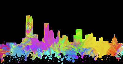 Abstract Skyline Digital Art Rights Managed Images - Oklahoma City Skyline Silhouette III Royalty-Free Image by Ricky Barnard