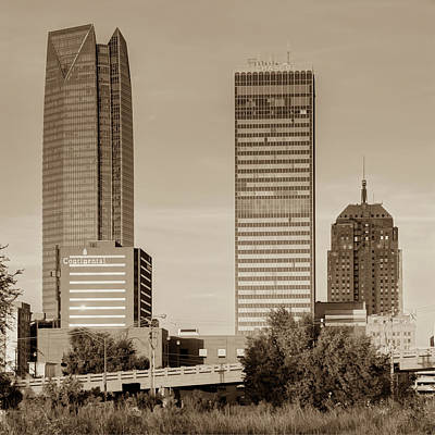 Photograph - Oklahoma City Skyline Square Sepia by Gregory Ballos