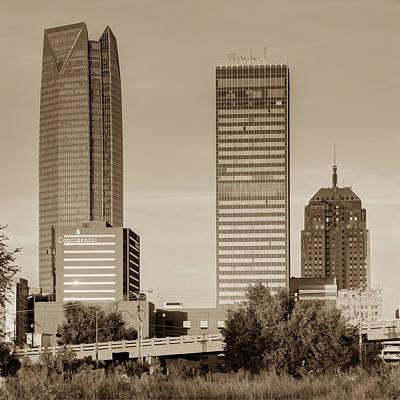 Photograph - Oklahoma City Skyline Square Sepia by Gregory Ballos