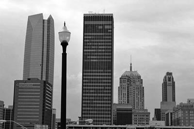 Photograph - Oklahoma City Skyline With Light Post - Black And White by Matt Harang