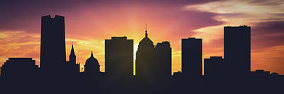 Sunset Digital Art - Oklahoma City Sunset Usokoc-pa01 by Aged Pixel