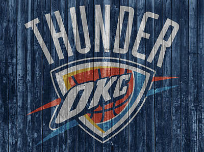 Athletes Mixed Media - Oklahoma City Thunder Barn Door by Dan Sproul