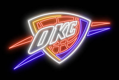 Digital Art - Oklahoma City Thunder Neon Sign by Ricky Barnard