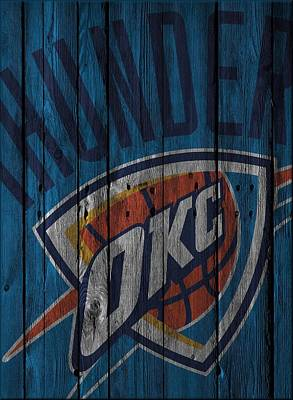 Oklahoma City Thunder Wood Fence Art Print by Joe Hamilton