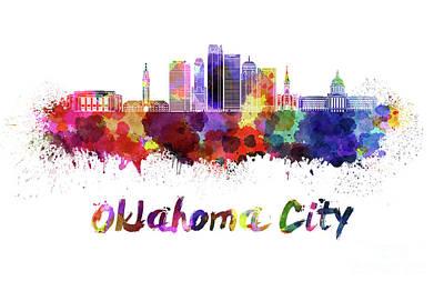 Oklahoma City V2 Skyline In Watercolor Art Print by Pablo Romero