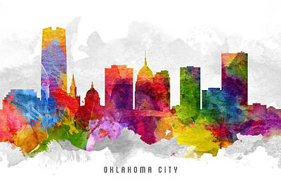 Towns Digital Art - Oklahoma Cityscape 13 by Aged Pixel