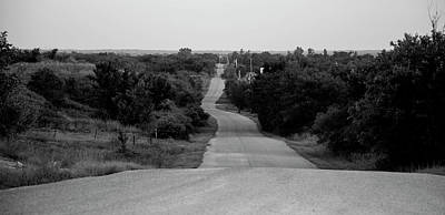 Photograph - Oklahoma Crooked Country Road In Black And White by Toni Hopper