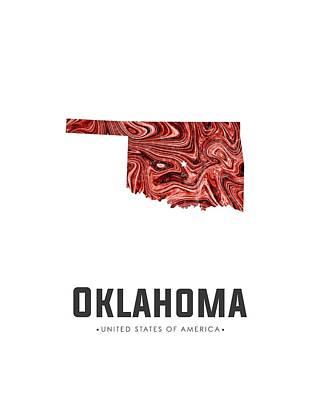Mixed Media - Oklahoma Map Art Abstract In Deep Red by Studio Grafiikka