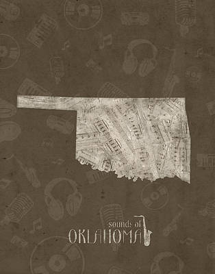 Jazz Royalty-Free and Rights-Managed Images - Oklahoma Map Music Notes 3 by Bekim Art