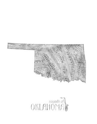 Jazz Royalty-Free and Rights-Managed Images - Oklahoma Map Music Notes by Bekim Art