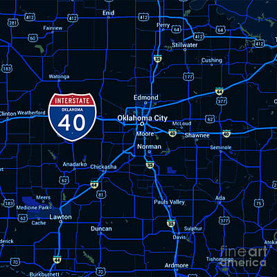 Oklahoma Map Route 40 Art Print