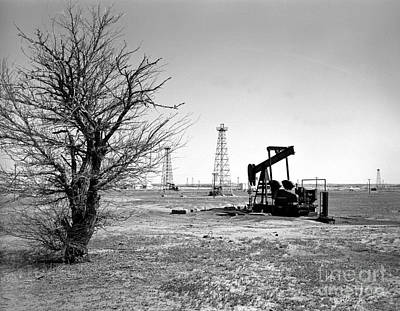 Black And White Photograph - Oklahoma Oil Field by Larry Keahey