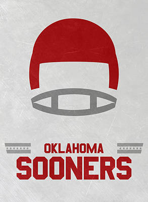 Ncaa Mixed Media - Oklahoma Sooners Vintage Football Art by Joe Hamilton