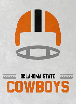 Ncaa Mixed Media - Oklahoma State Cowboys Vintage Football Art by Joe Hamilton
