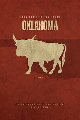 Bison Mixed Media - Oklahoma State Facts Minimalist Movie Poster Art by Design Turnpike