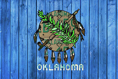 Oklahoma Mixed Media - Oklahoma State Flag License Plate Art by Design Turnpike