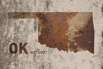 Oklahoma State Map Industrial Rusted Metal On Cement Wall With Founding Date Series 003 Art Print by Design Turnpike