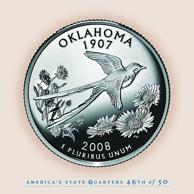 Flycatcher Digital Art - Oklahoma State Quarter - Portrait Coin 46 by Garrett Burke