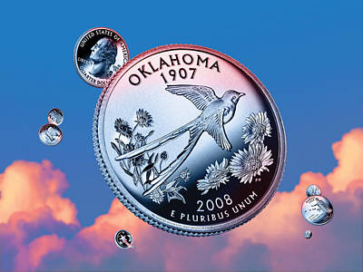 Flycatcher Digital Art - Oklahoma State Quarter - Sky Coin 46 by Garrett Burke
