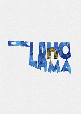 Digital Art - Oklahoma Typographic Map Flag by Inspirowl Design