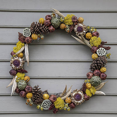 Virginia Photograph - Okra Pinecone Yarrow Pomegranate And Orange Wreath by Teresa Mucha