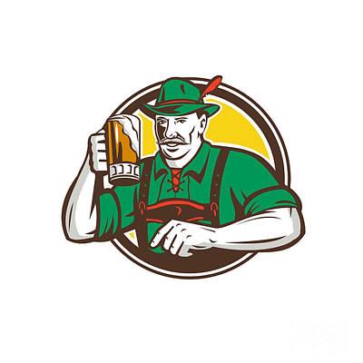Oktoberfest Digital Art - Oktoberfest Bavarian Beer Drinker Circle Retro by Aloysius Patrimonio