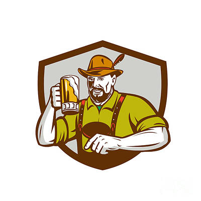 Oktoberfest Digital Art - Oktoberfest Bavarian Beer Drinker Shield Retro by Aloysius Patrimonio