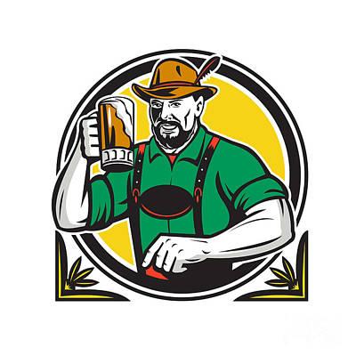Oktoberfest Digital Art - Oktoberfest German Beer Drinker Circle Retro by Aloysius Patrimonio