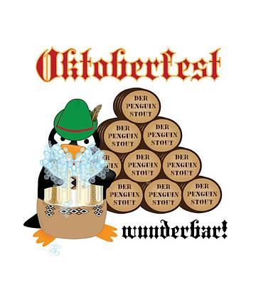 Oktoberfest Digital Art - Oktoberfest Penguin by Jane E Rankin