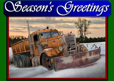 Art Print featuring the digital art Ol' Pete Snowplow Christmas Card by Stuart Swartz