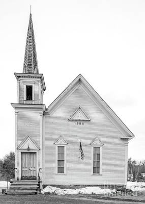 Photograph - Old 1885 White Church In Newport New Hampshire by Edward Fielding