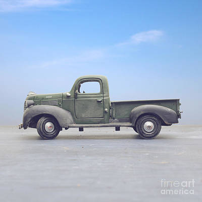 Old Country Roads Photograph - Old 1940s Plymouth Green Truck by Edward Fielding