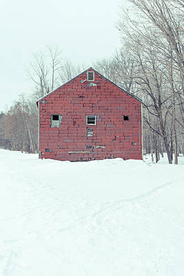 Photograph - Old Abandoned Barn In Winter by Edward Fielding