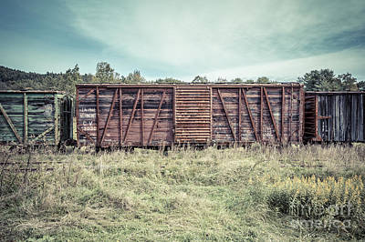 Photograph - Old Abandoned Box Cars Central Vermont by Edward Fielding