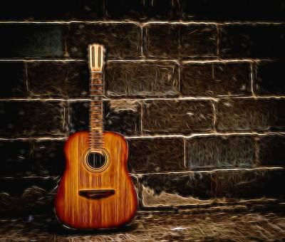 Photograph - Old Abandoned Guitar And Brick Wall by John Williams
