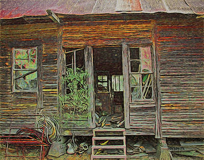 Digital Art - Old Abandoned House - Ghost Dogs Trotting by Rebecca Korpita