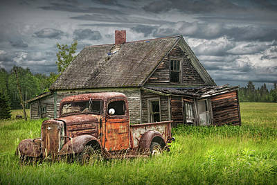 Photograph - Old Abandoned Pickup By Run Down Farm House by Randall Nyhof