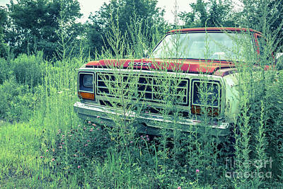 Dodge Truck Wall Art - Photograph - Old Abandoned Pickup Truck In The Weeds by Edward Fielding