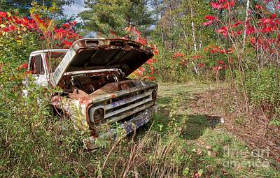 Photograph - Old Abandoned Truck Newport New Hampshire by Edward Fielding
