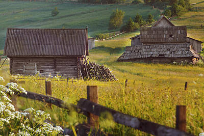 old abandoned wooden hut in the Carpathian Mountains, among gree Original