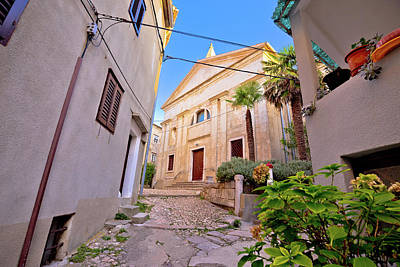 Photograph - Old Adriatic Town Vrbnik Stone Street And Church View by Brch Photography