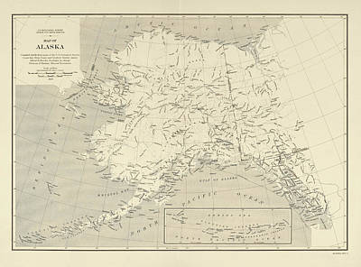 Drawing - Old Alaska Map By The Us Geological Survey - 1909 by Blue Monocle