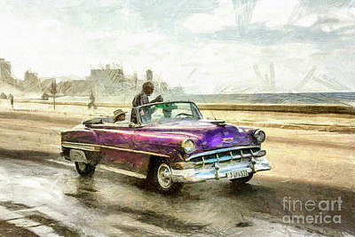 Drawing - Old American Chevrolet 1950s Cars by Daliana Pacuraru
