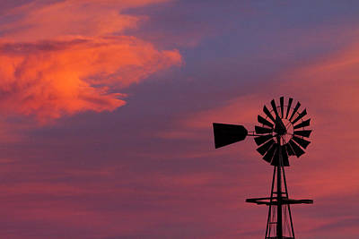Old American Farm Windmill With A Sunset  Print by James BO  Insogna