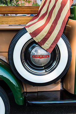 Photograph - Old American Flag On Antique Truck by Gary Slawsky