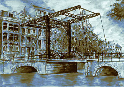 Drawing - Old Amsterdam Bridge - Dutch Blue Water Color by Art America Gallery Peter Potter