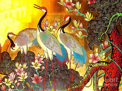 Old Ancient Chinese Screen Painting - Cranes Art Print by Merton Allen