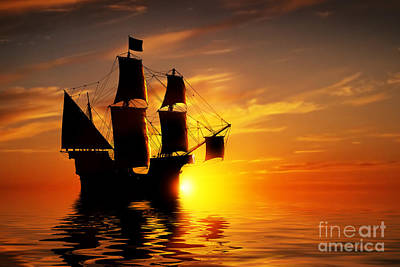 Exploration Photograph - Old Ancient Pirate Ship On Peaceful Ocean At Sunset by Michal Bednarek