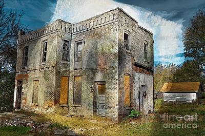Photograph - Old And Dilapidated Colored Sketch by Liane Wright