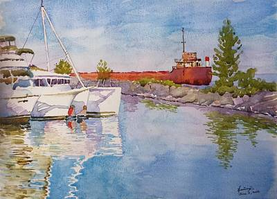 Old And New At Port Credit Art Print by Ghazi Toutounji